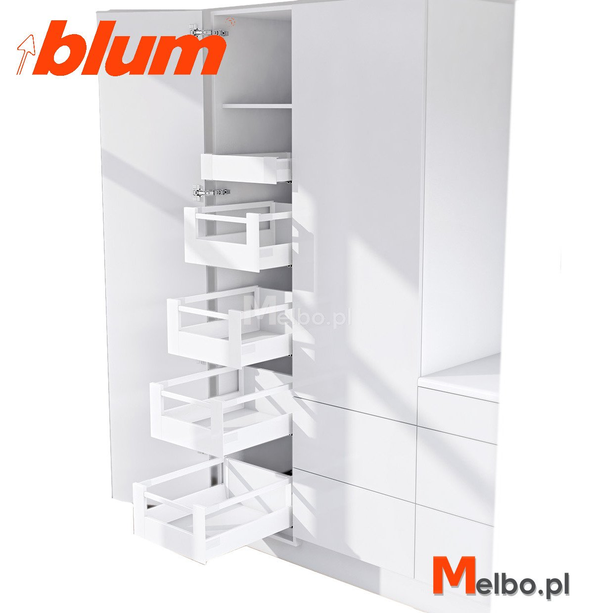 cargo wysokie blum space tower 40 50 60 l500 bia y. Black Bedroom Furniture Sets. Home Design Ideas